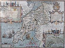 FRAMED JOHN SPEED MAP OF CAERNARVON, APPROXIMATELY 39cm x 52cm