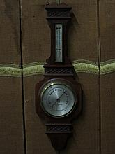 CARVED MAHOGANY ANEROID BAROMETER BY THOMAS ARMSTRONG & BROTHER