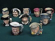TEN VARIOUS ROYAL DOULTON CHARACTER JUGS INCLUDING HENRY VIII, GEORGE WASHI