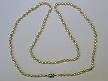 STRAND OF CULTURED PEARLS ON VICTORIAN STYLE CLASP