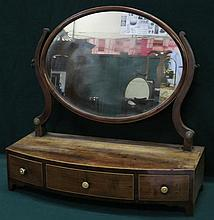 MAHOGANY INLAID BOW FRONTED THREE DRAWERS BEDROOM SWING MIRROR