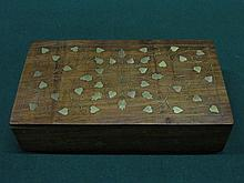 ART NOUVEAU STYLE BRASS INLAID TREEN STORAGE BOX WITH HINGED COVER