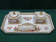 DRESDEN HANDPAINTED AND GILDED CERAMIC DESK STAND