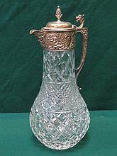 DECORATIVE SILVER PLATED AND GLASS CLARET JUG WITH HINGED COVER, APPROXIMAT