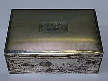 HALLMARKED SILVER CIGARETTE BOX, BIRMINGHAM ASSAY, DATED 1975, BY HARMAN BR