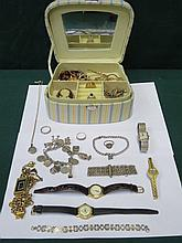 JEWELLERY CASKET CONTAINING VARIOUS COSTUME JEWELLERY INCLUDING SILVER CHAR