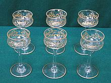 SET OF SIX PRETTY STEMMED LIQUEUR GLASSES WITH GILDED DECORATION