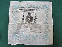 COMMEMORATIVE PAPER HANDKERCHIEF- SOUVENIR IN COMMEMORATION OF THE GREAT WA