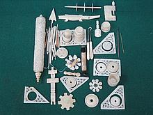 PARCEL OF CARVED IVORY SEWING BOX ACCESSORIES