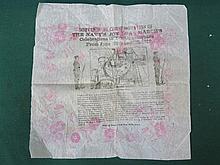 COMMEMORATIVE PAPER HANDKERCHIEF- SOUVENIR IN COMMEMORATION OF THE NAVY'S J