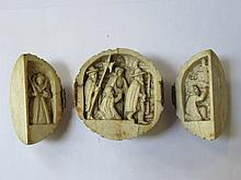 HEAVILY CARVED ANTIQUE IVORY THREE SECTION GLOBULAR TRIPTYCH DEPICTING RELI