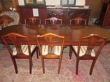 REPRODUCTION MAHOGANY DINING TABLE WITH ONE LEAF AND SIX CHAIRS, BOUGHT AT