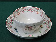 NEWHALL POTTERY HANDPAINTED 18th/19th CENTURY CERAMIC TEA BOWL WITH SAUCER
