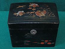 ORIENTAL STYLE BLACK LACQUERED AND GILDED TEA CADDY