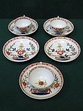 SET OF FIVE MEISSEN HANDPAINTED AND GILDED SAUCERS AND THREE FLORAL DECORATED MATCHING CUPS