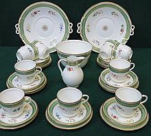VICTORIAN STYLE HANDPAINTED AND GILDED PART TEA SET WITH FLORAL DECORATION