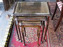 REPRODUCTION MAHOGANY GLASS TOPPED NEST OF THREE TABLES