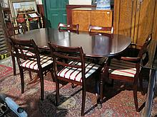 REPRODUCTION MAHOGANY EXTENDING DINING TABLE WITH ONE LEAF AND SIX (FOUR AND TWO) CHAIRS