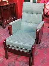 OAK AND MAHOGANY FRAMED UPHOLSTERED ARMCHAIR WITH PULL OUT FOOT STOOL AND LIFT UP TRAY TO RIGHT SIDE ARM.  BELIEVED TO HAVE COME FROM WHITE STAR LINER S.S. CEDRIC