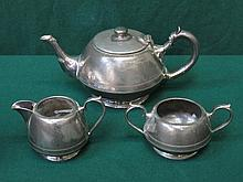 WALKER & HALL THREE PIECE SILVER PLATED TEA SET