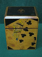 PRETTY INLAID TREEN CARD BOX WITH HINGED COVER