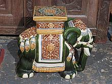 DECORATIVE GLAZED CERAMIC ELEPHANT STOOL