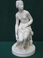 COPELAND LATE/MID 19th CENTURY CRYSTAL PALACE ART UNION UNGLAZED AND GILDED PARIAN WARE SEATED FIGURINE (AT FAULT)