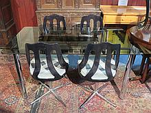 1970s STYLE CHROME COLOURED DINING TABLE WITH BLACK TINTED TOP
