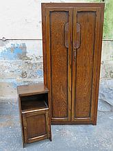 OAK TWO DOOR WARDROBE AND NON-MATCHING BEDSIDE CABINET