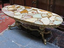 GILT METAL FRENCH STYLE PIERCEWORK OVAL COFFEE TABLE WITH MARBLE EFFECT TOP