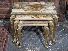 GILT METAL FRENCH STYLE NEST OF THREE TABLES WITH MARBLE EFFECT TOPS
