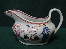 NEWHALL POTTERY HANDPAINTED 18th/19th CENTURY CERAMIC CREAM JUG WITH ORIENTAL SCENE