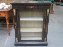 EBONISED SINGLED DOOR VICTORIAN SIDE CABINET WITH
