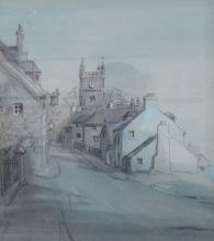 FRAMED WATERCOLOUR DEPICTING A VILLAGE SCENE WITH
