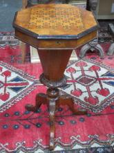 VICTORIAN MAHOGANY INLAID SEWING CABINET ON CARVED