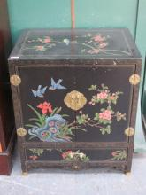 DECORATIVE BLACK LACQUERED TWO DOOR SIDE CABINET,