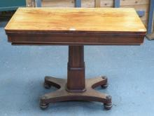 ANTIQUE MAHOGANY FOLD OVER GAMES TABLE WITH GREEN