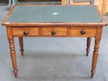 ANTIQUE MAHOGANY THREE DRAWER WRITING DESK WITH GR