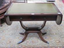 REPRODUCTION LEATHER TOPPED DROP LEAF SOFA TABLE F