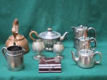 SMALL COPPER KETTLE, VINTAGE RAZOR SET PLATED TEAW