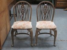 PAIR OF STRIPPED COUNTRY STYLE WHEEL BACK CHAIRS O