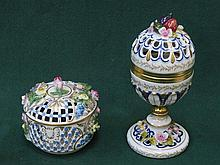 DRESDEN HANDPAINTED AND GILDED FLORAL DECORATED PIERCEWORK POT-POURRI POT W