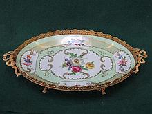 LIMOGES HANDPAINTED AND GILDED FLORAL DECORATED OVAL SHALLOW DISH WITH GILT