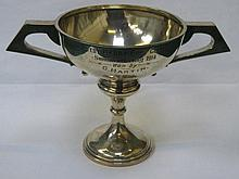 HALLMARKED SILVER TWO HANDLED GOLF TROPHY, CHESTER ASSAY