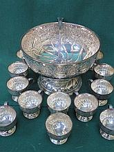 VINERS SILVER PLATED AND REPOUSSE DECORATED PUNCH BOWL WITH LADLE AND CUPS