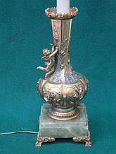 DECORATIVE GILDED TABLE LAMP WITH RELIEF CHERUB ON ONYX BASE