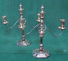 PAIR OF SILVER PLATED THREE SCONCE CANDELABRA, APPROXIMATELY 43cm HIGH
