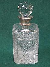 SILVER MOUNTED GLASS DECANTER