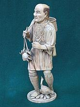 GOOD QUALITY HEAVILY CARVED SECTIONAL IVORY FIGURE DEPICTING AN ORIENTAL FI