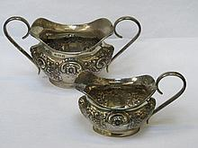 HALLMARKED SILVER REPOUSSE DECORATED MILK JUG AND SUGAR BOWL, BIRMINGHAM AS